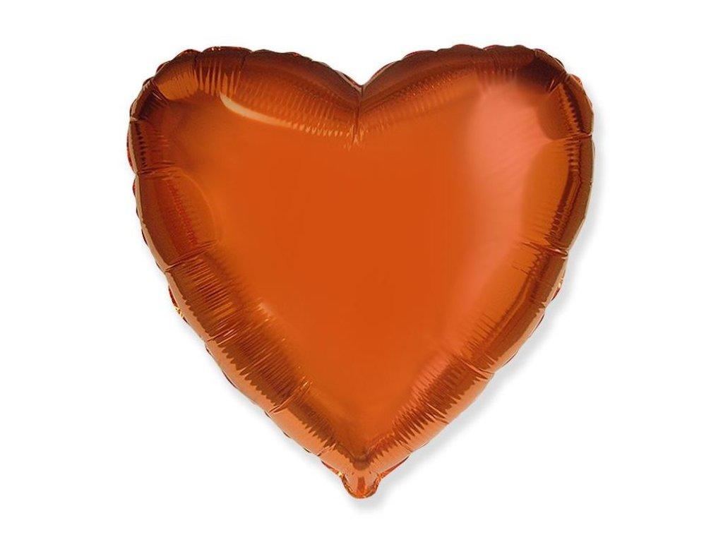 Balón foliový 45 cm Srdce oranžové - Valentýn / Svatba