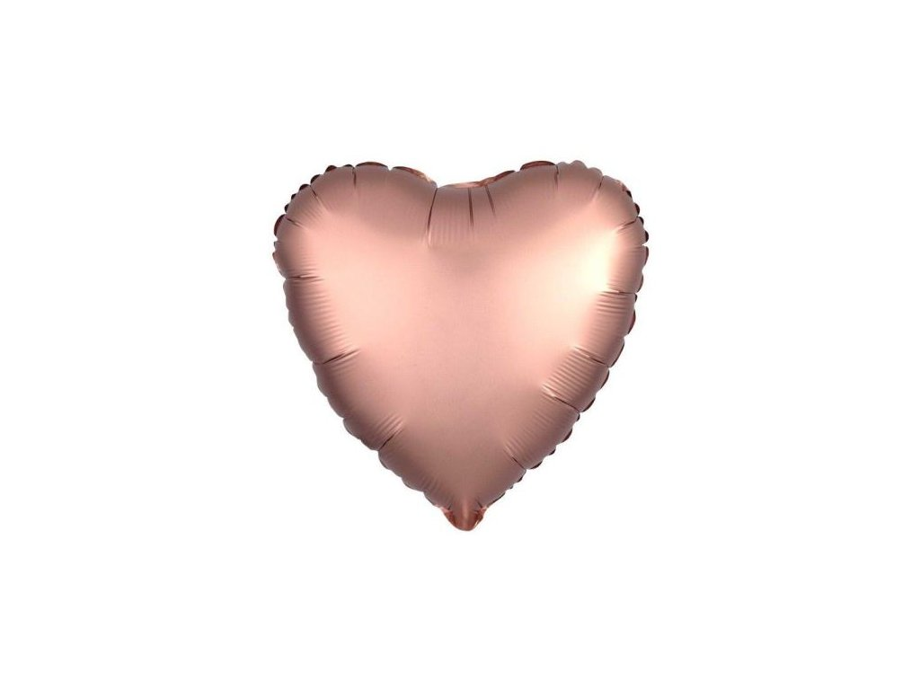 Balón foliový 45 cm Srdce růžovo zlaté - Rose gold - Valentýn / Svatba