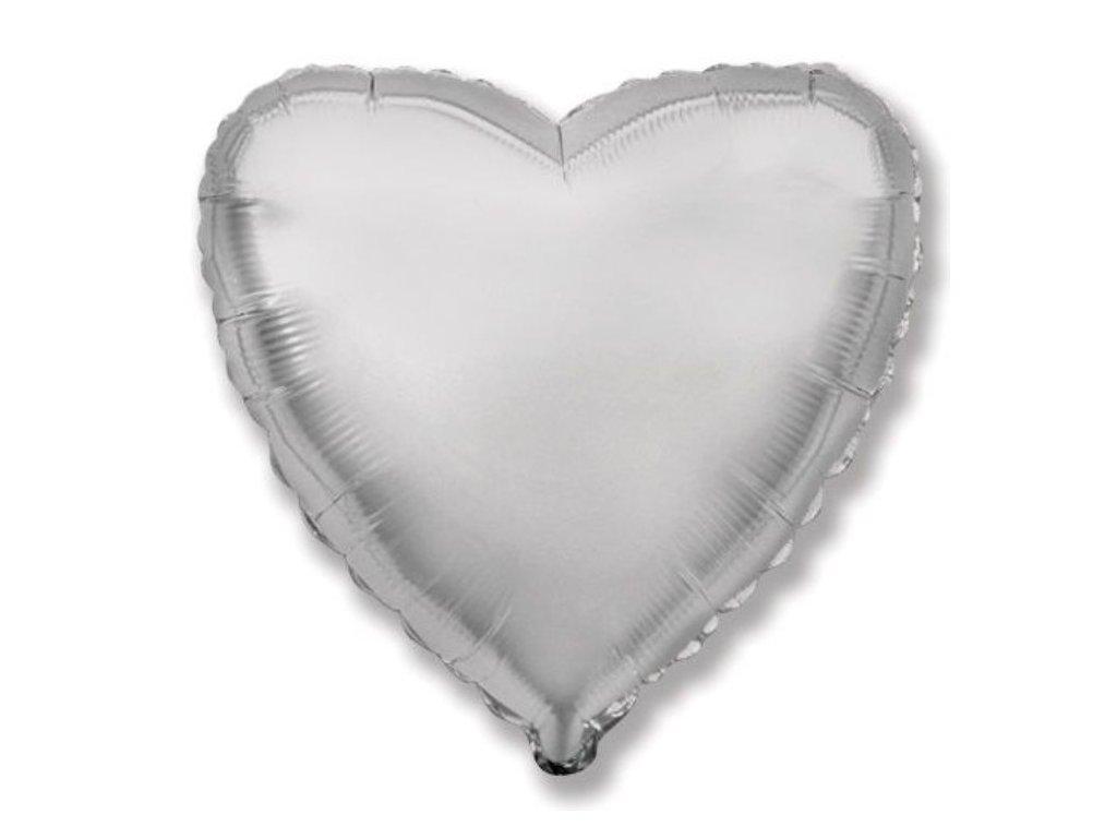 Balón foliový 45 cm Srdce stříbrné - Valentýn / Svatba