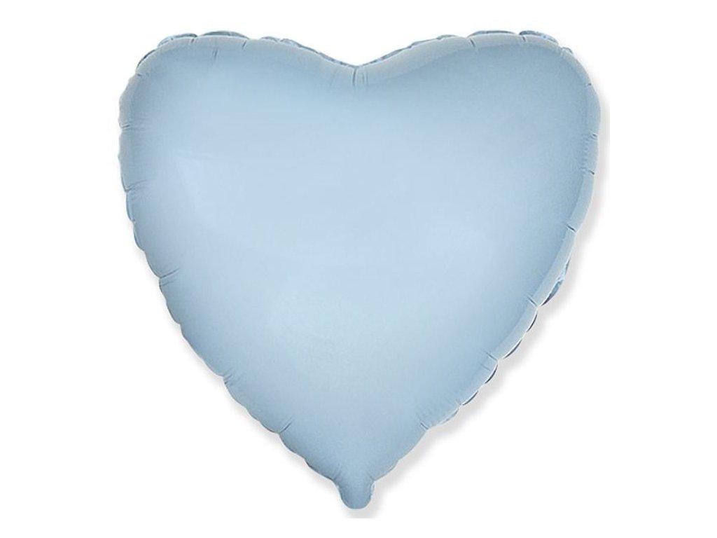 Balón foliový 45 cm Srdce světle modré - Valentýn / Svatba