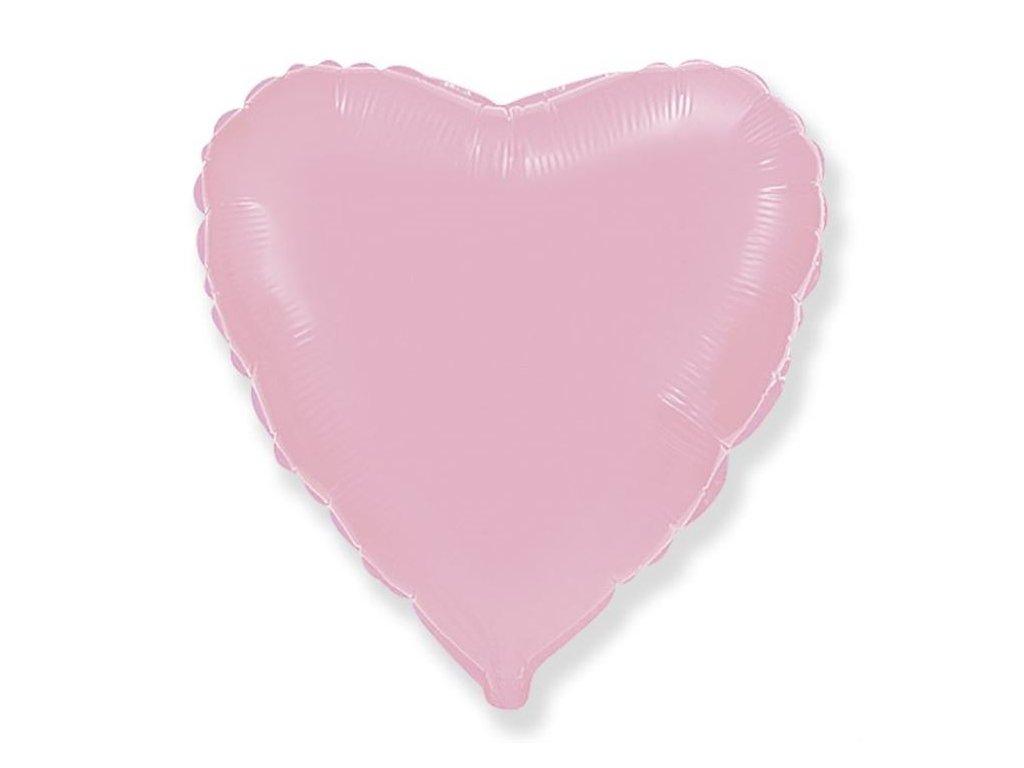 Balón foliový 45 cm Srdce světle růžové - Valentýn / Svatba