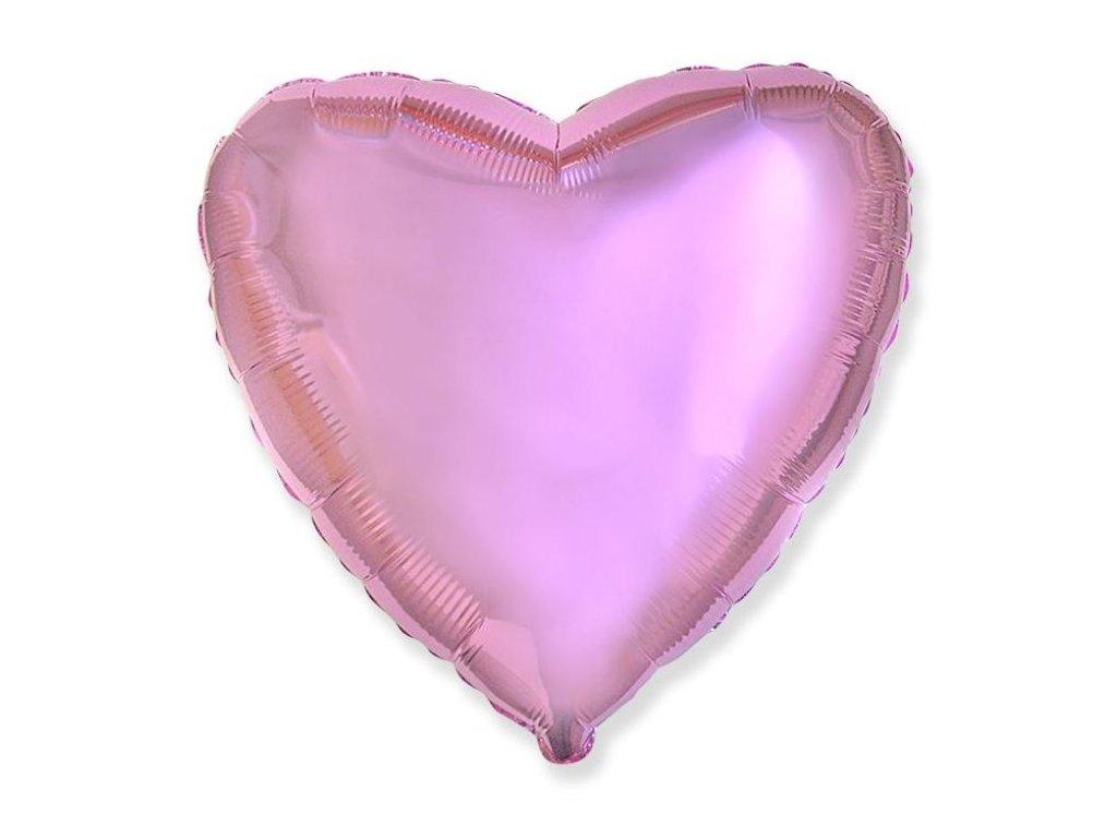 Balón foliový 45 cm Srdce světle růžové metalické - Valentýn / Svatba