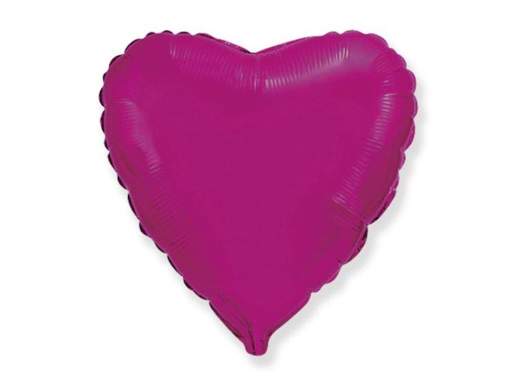 Balón foliový 45 cm Srdce tmavě růžové FUCHSIE - Valentýn / Svatba