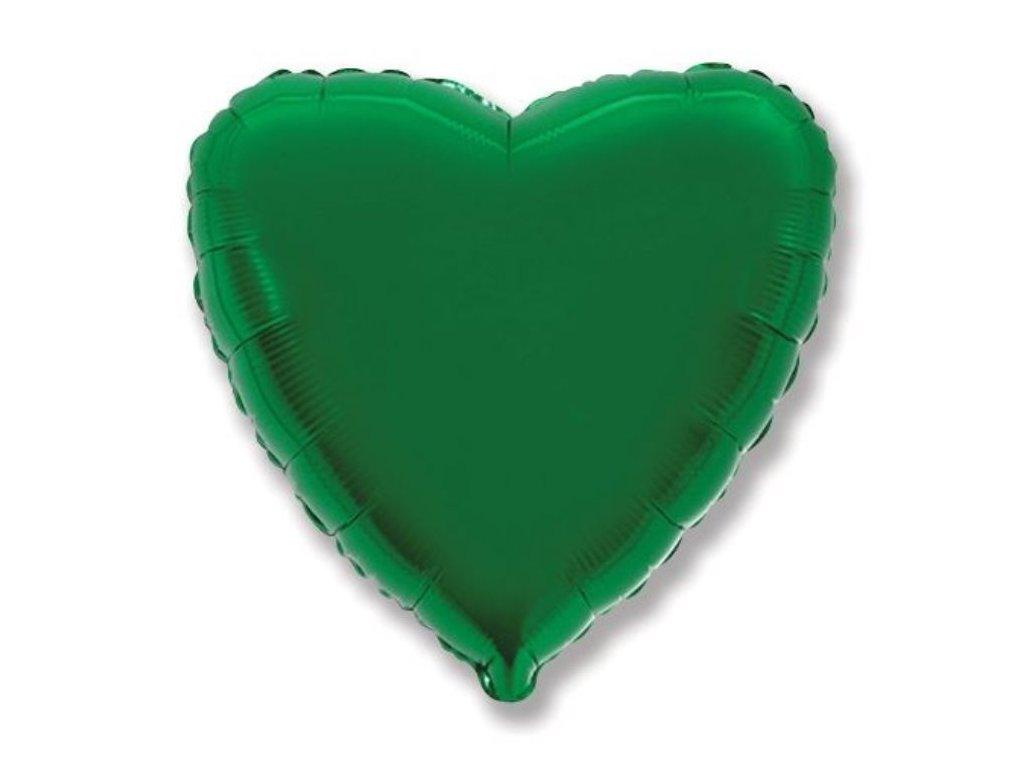Balón foliový 45 cm Srdce zelené - Valentýn / Svatba