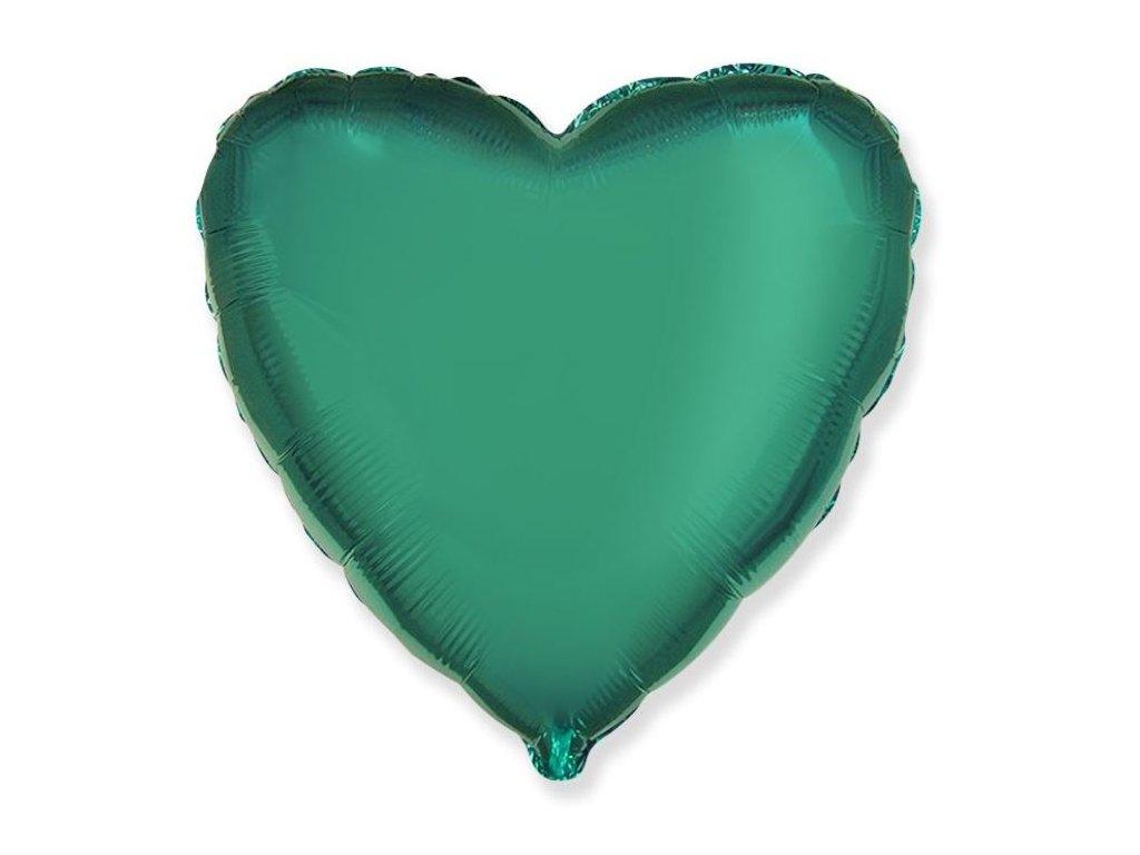 Balón foliový 45 cm Srdce zelené TYRKYSOVÉ - Valentýn / Svatba