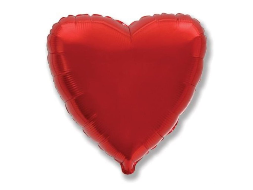 Balón foliový 45 cm Srdce červené - Valentýn / Svatba