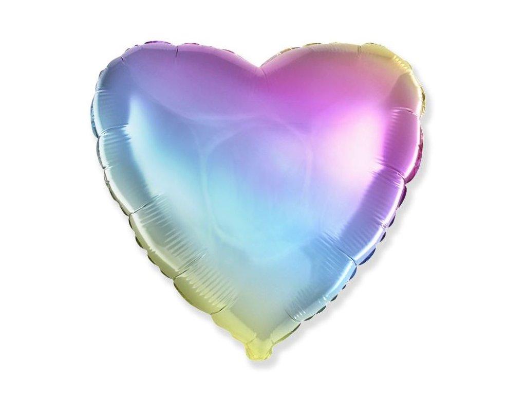 Balón foliový 45cm srdce DUHOVÝ - RAINBOW - Valentýn / Svatba