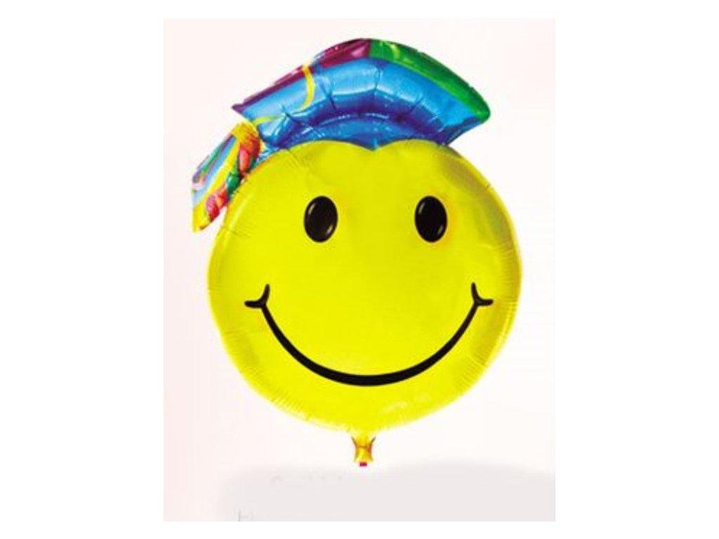 Balón foliový Smajlík - promoce barevný 95 cm