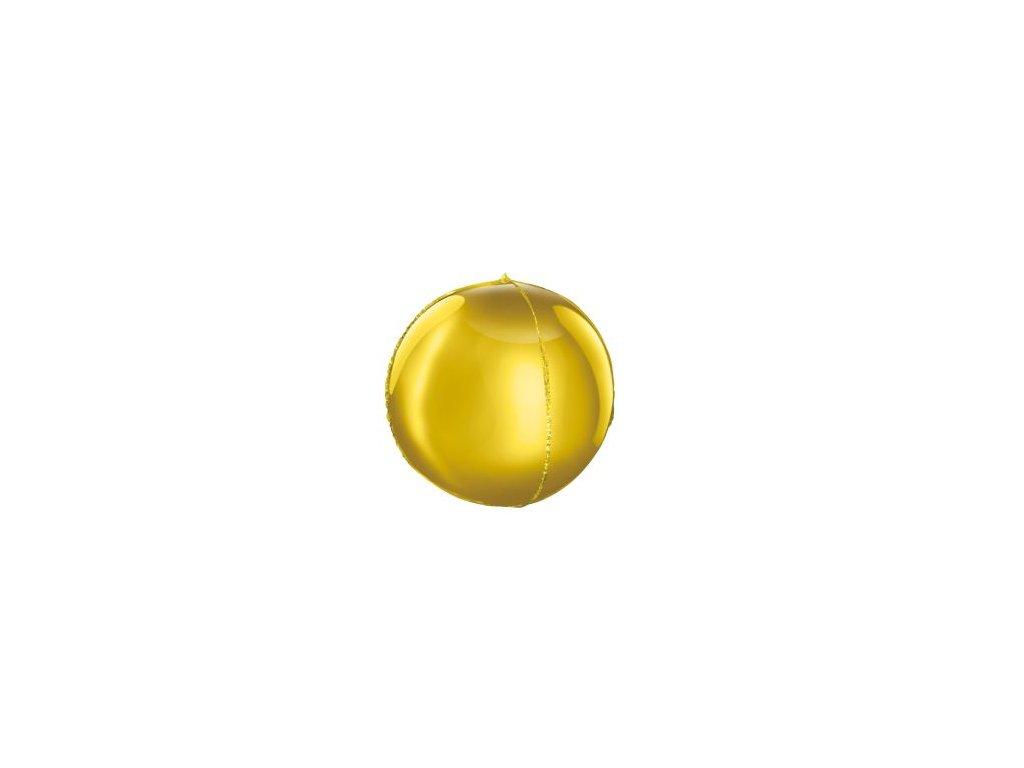 Balón foliový kulatý zlatý 3D 62cm