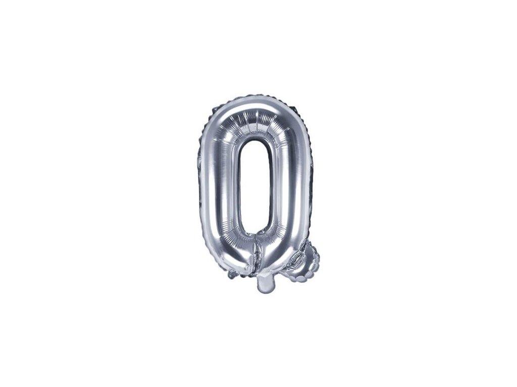 """Balón foliový pismeno """"Q"""", 35cm, STŘÍBRNÝ (NELZE PLNIT HELIEM)"""