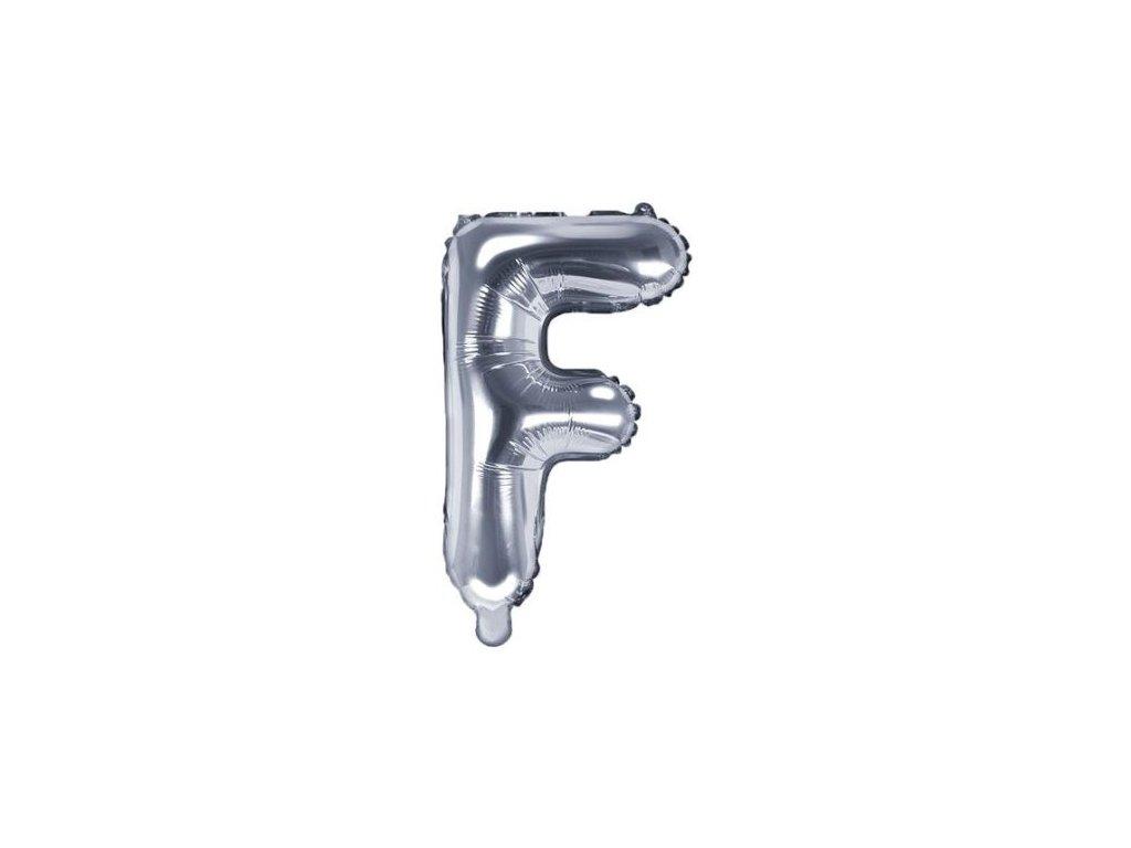 """Balón foliový písmeno """"F"""", 35cm, STŘÍBRNÝ (NELZE PLNIT HELIEM)"""