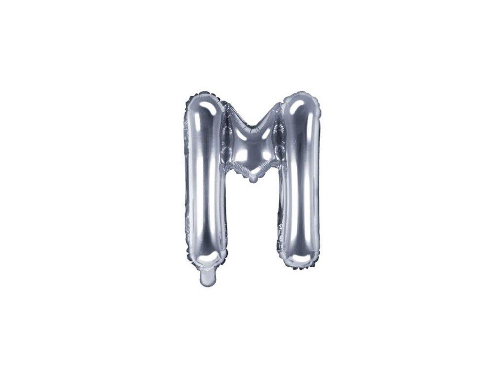 """Balón foliový písmeno """"M"""", 35cm, STŘÍBRNÝ (NELZE PLNIT HELIEM)"""