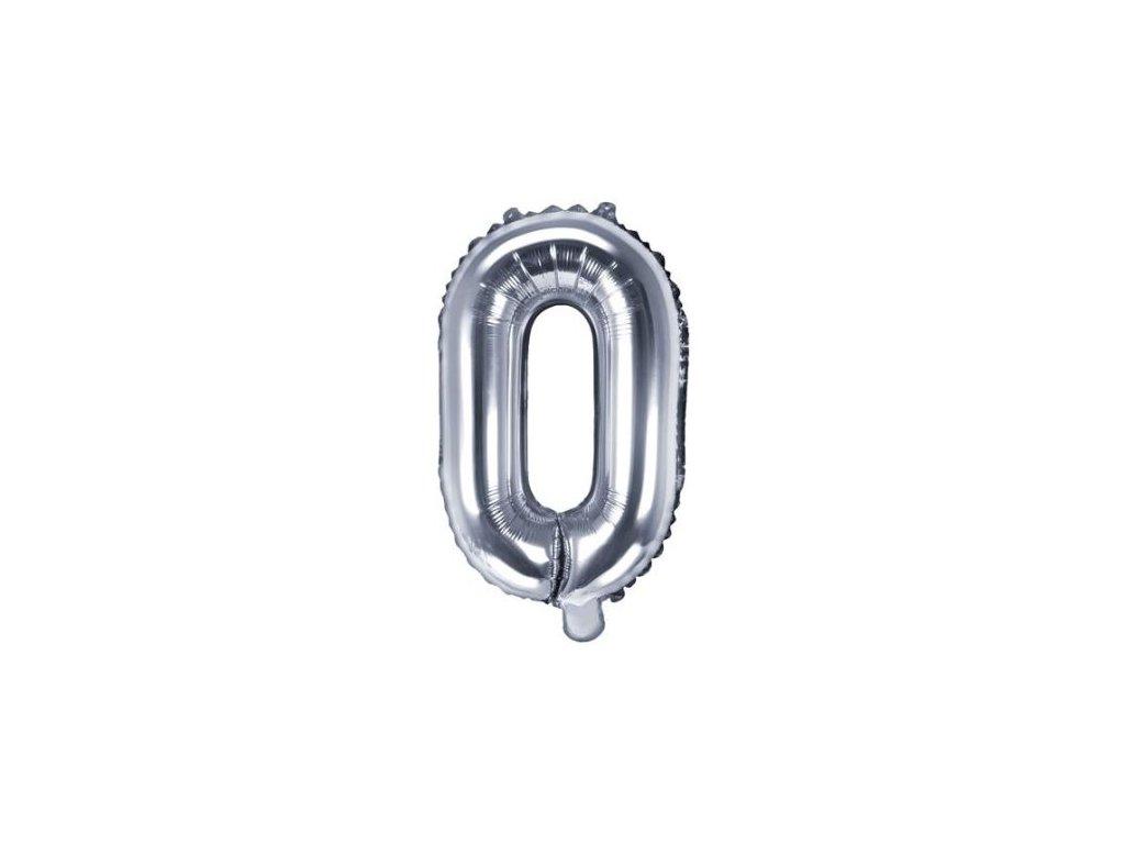 """Balón foliový písmeno """"O"""", 35cm, STŘÍBRNÝ (NELZE PLNIT HELIEM)"""