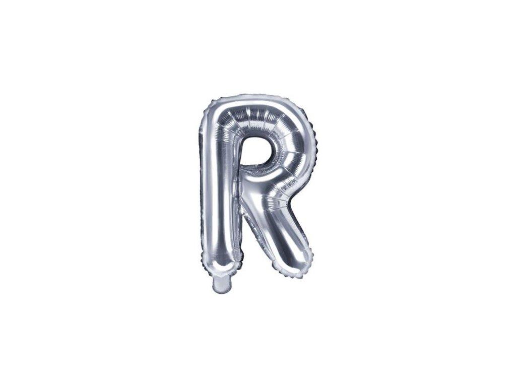 """Balón foliový písmeno """"R"""", 35cm, STŘÍBRNÝ (NELZE PLNIT HELIEM)"""