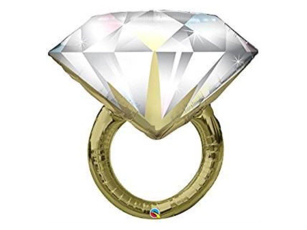 Balón foliový svatební prsten - prstýnek 94 cm - rozlučka se svobodou