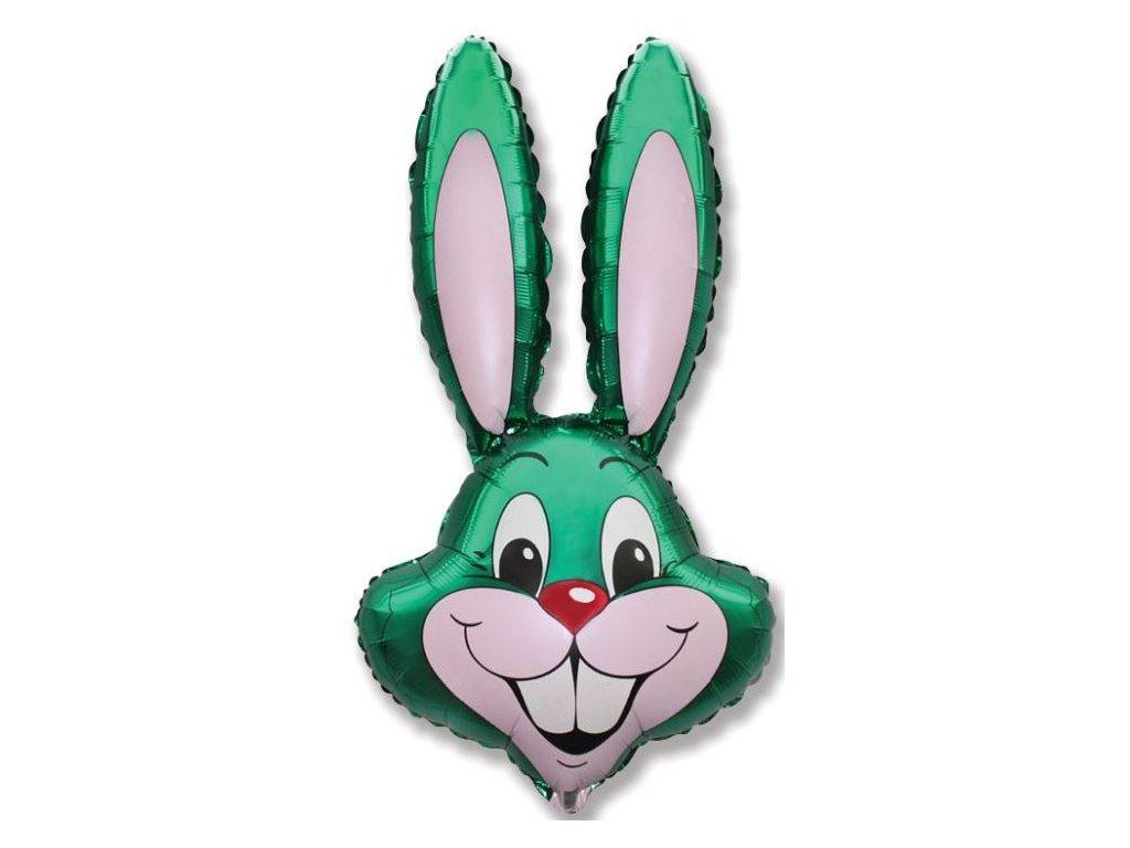 Balón foliový zajíc - zelený - farma - Velikonoce - 60cm