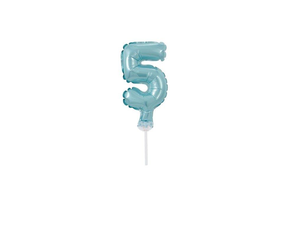 Balón foliový číslice - 5 - TYRKYSOVÁ - TIFFANY 12,5 cm s držákem