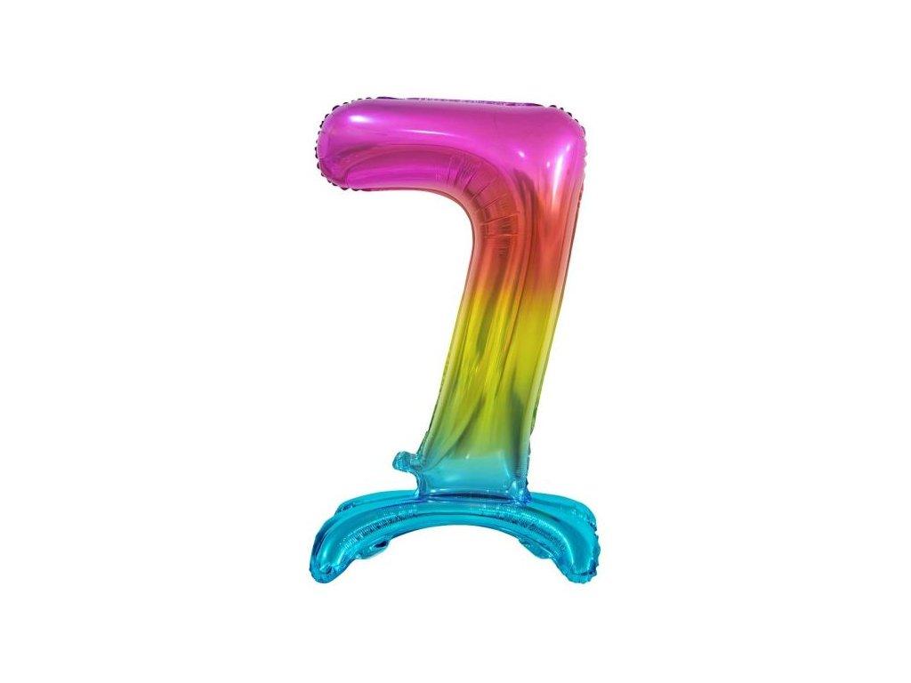 Balón foliový číslice DUHOVÁ na podstavci , 74 cm - 7