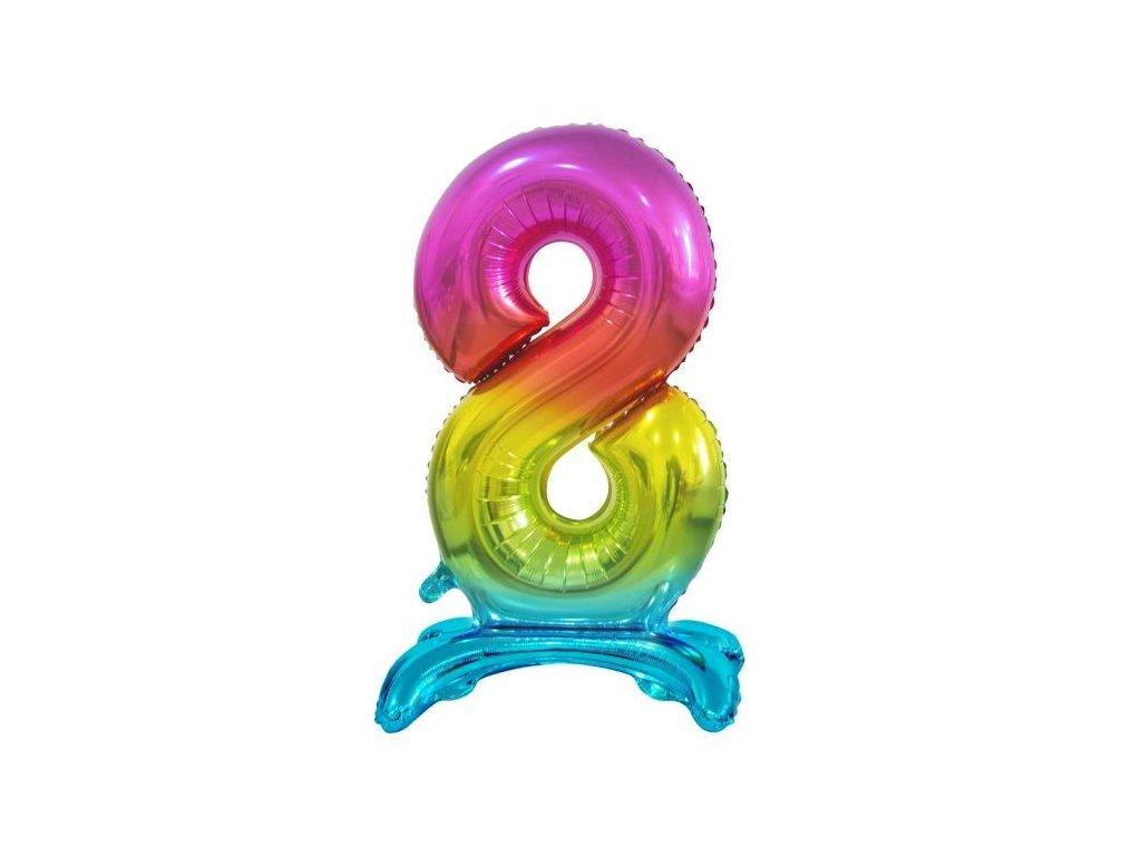 Balón foliový číslice DUHOVÁ na podstavci , 74 cm - 8