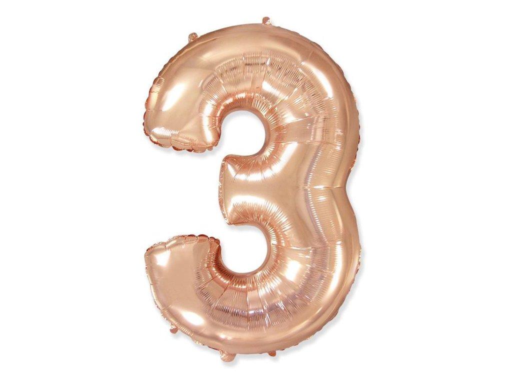 Balón foliový číslice RŮŽOVO ZLATÁ - ROSE GOLD 110 cm - 3
