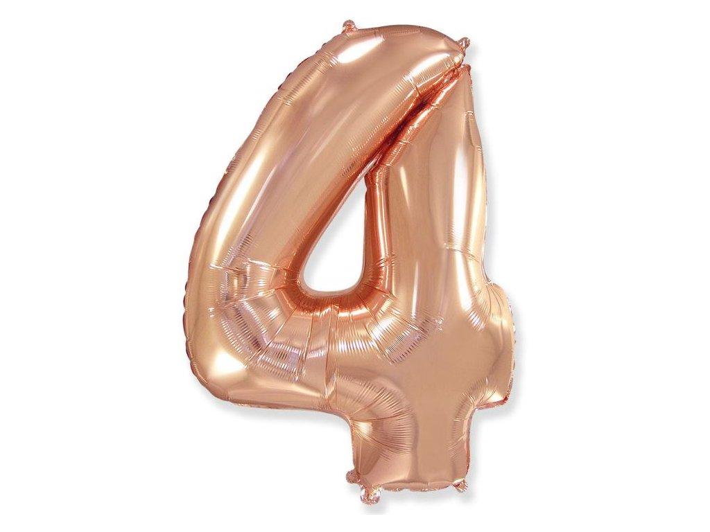 Balón foliový číslice RŮŽOVO ZLATÁ - ROSE GOLD 110 cm - 4