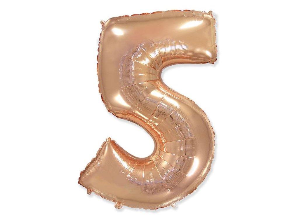 Balón foliový číslice RŮŽOVO ZLATÁ - ROSE GOLD 102 cm - 5