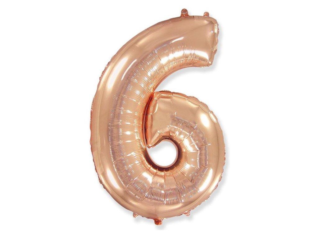 Balón foliový číslice RŮŽOVO ZLATÁ - ROSE GOLD 110 cm - 6