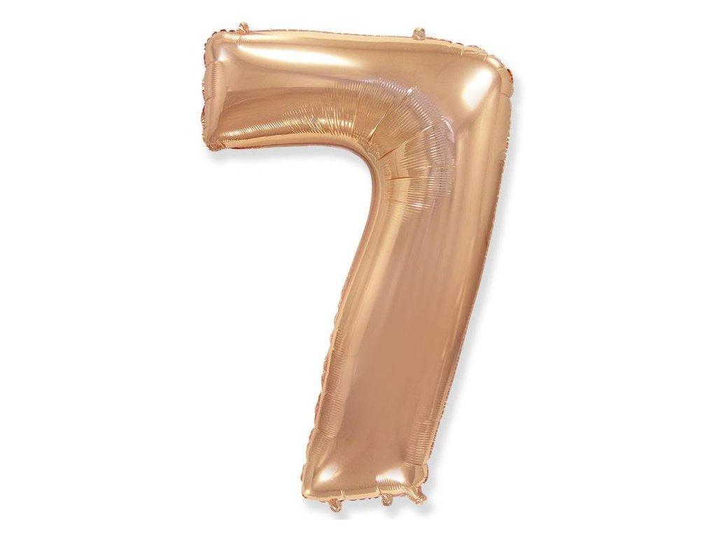 Balón foliový číslice RŮŽOVO ZLATÁ - ROSE GOLD 110 cm - 7