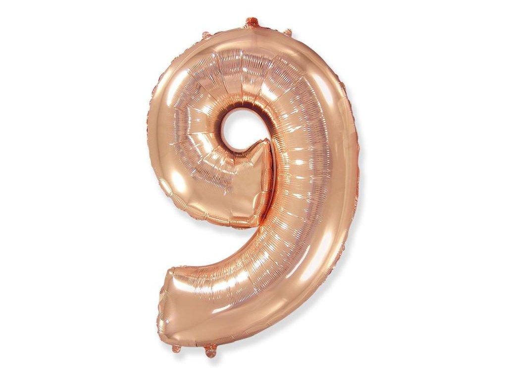 Balón foliový číslice RŮŽOVO ZLATÁ - ROSE GOLD 102 cm - 9