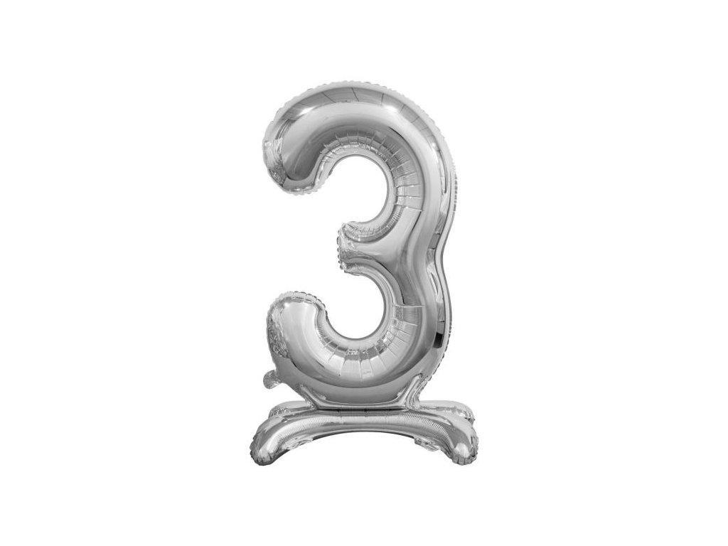 Balón foliový číslice STŘIBRNÁ na podstavci , 74 cm - 3