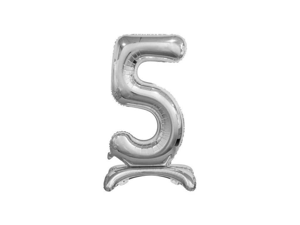 Balón foliový číslice STŘIBRNÁ na podstavci , 74 cm - 5