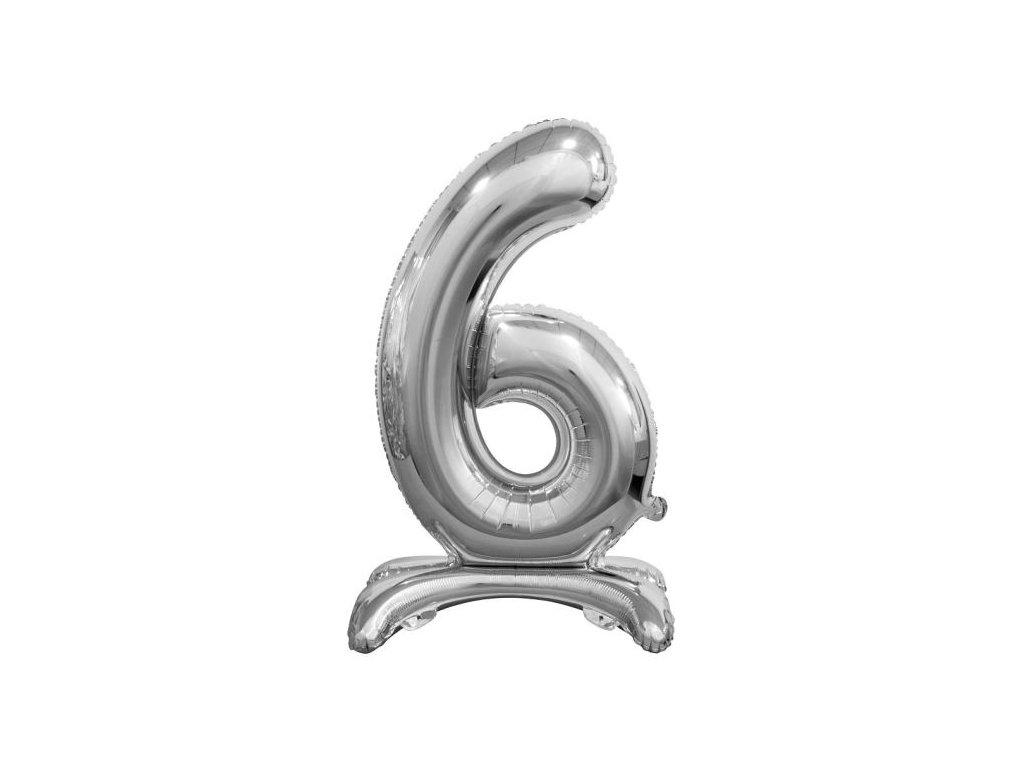 Balón foliový číslice STŘIBRNÁ na podstavci , 74 cm - 6