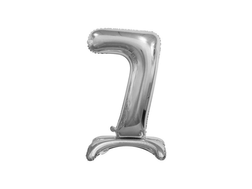 Balón foliový číslice STŘIBRNÁ na podstavci , 74 cm - 7
