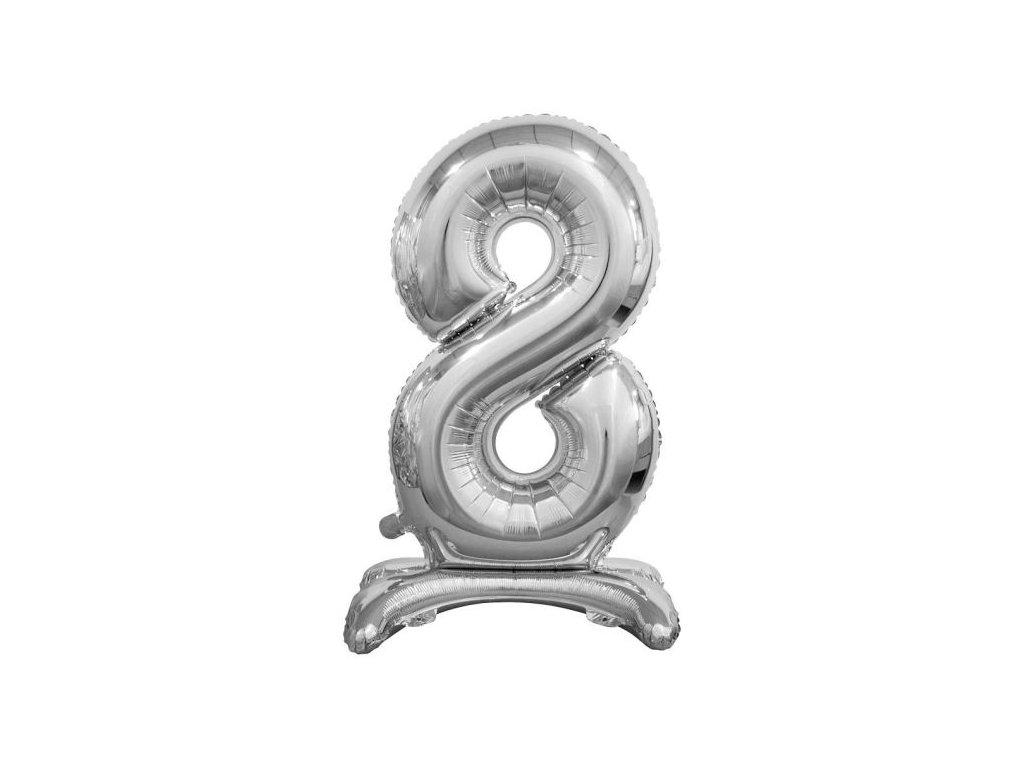 Balón foliový číslice STŘIBRNÁ na podstavci , 74 cm - 8