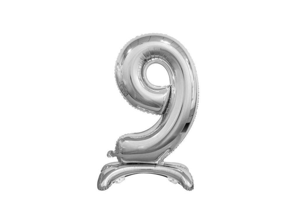 Balón foliový číslice STŘIBRNÁ na podstavci , 74 cm - 9