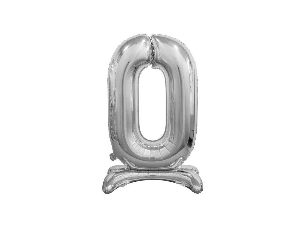 Balón foliový číslice STŘIBRNÁ na podstavci - 74 cm - 0