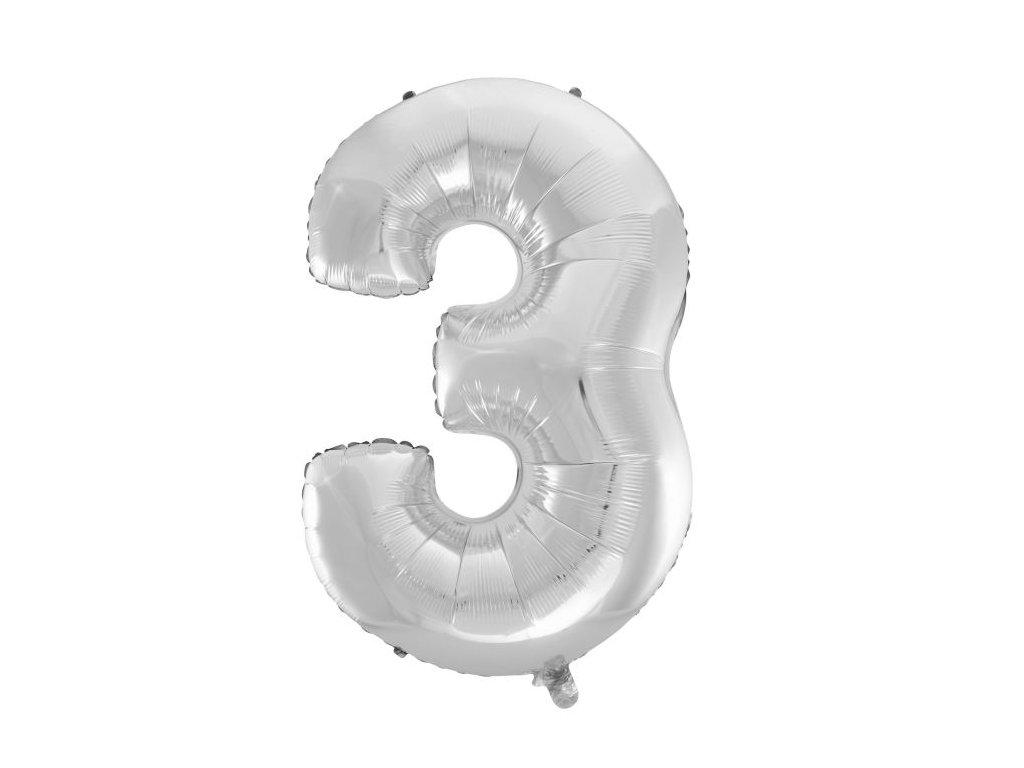 Balón foliový číslice STŘÍBRNÁ - SILVER 110 cm - 3