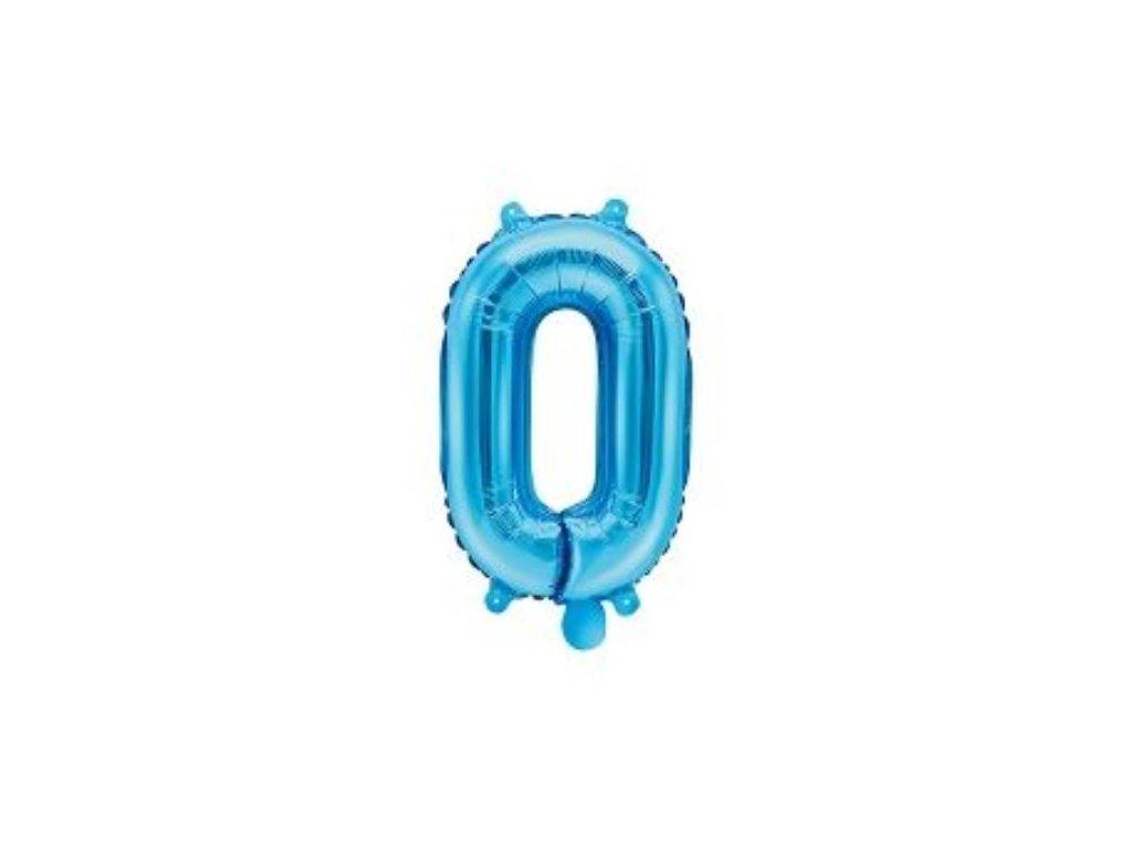 Balón foliový číslice SVĚTLE MODRÁ 35 cm - 0 ( NELZE PLNIT HELIEM )