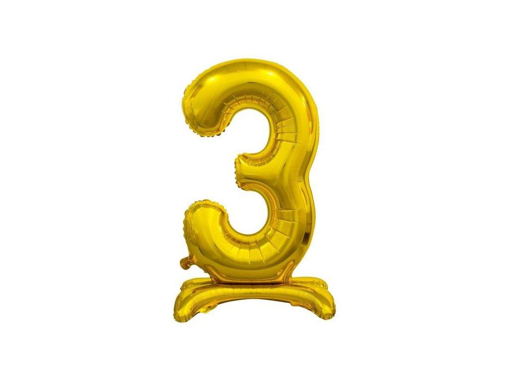 Balón foliový číslice ZLATÁ na podstavci , 74 cm - 3