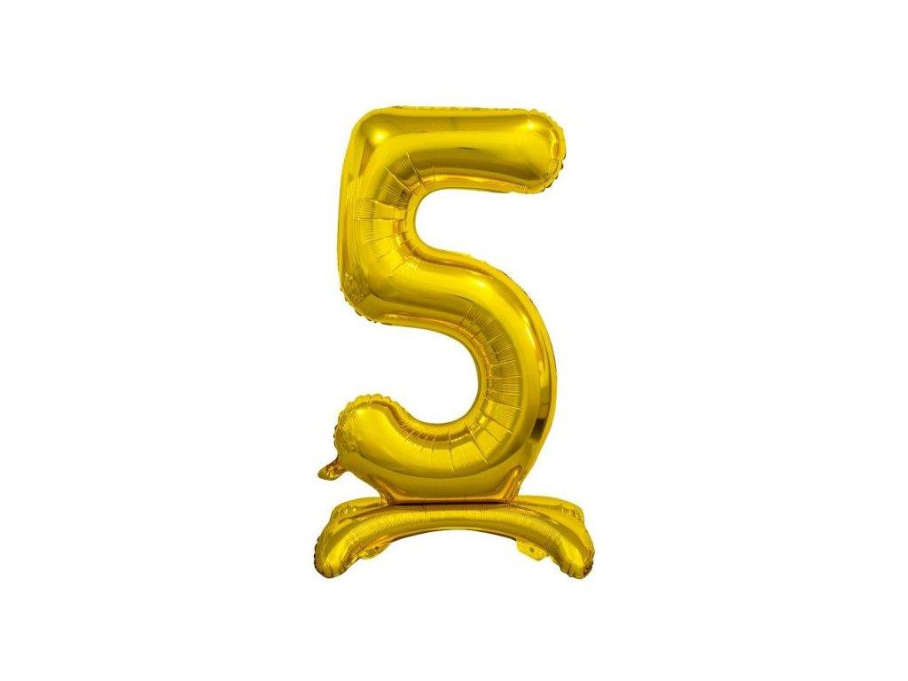 Balón foliový číslice ZLATÁ na podstavci , 74 cm - 5