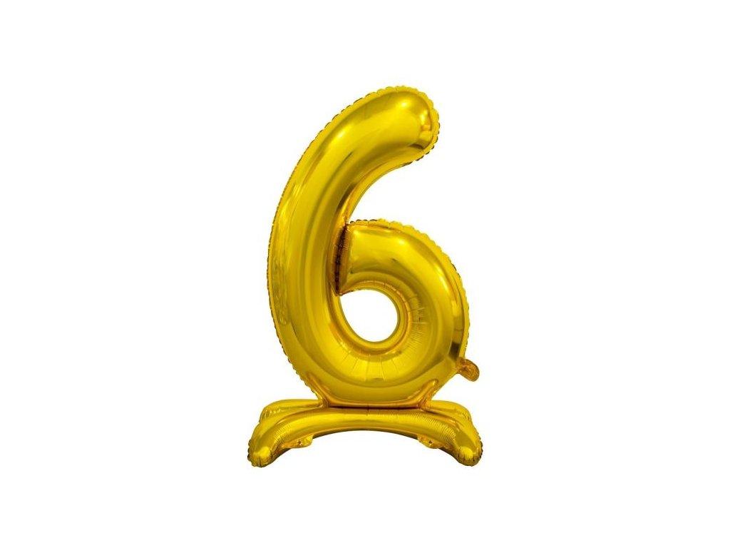 Balón foliový číslice ZLATÁ na podstavci , 74 cm - 6
