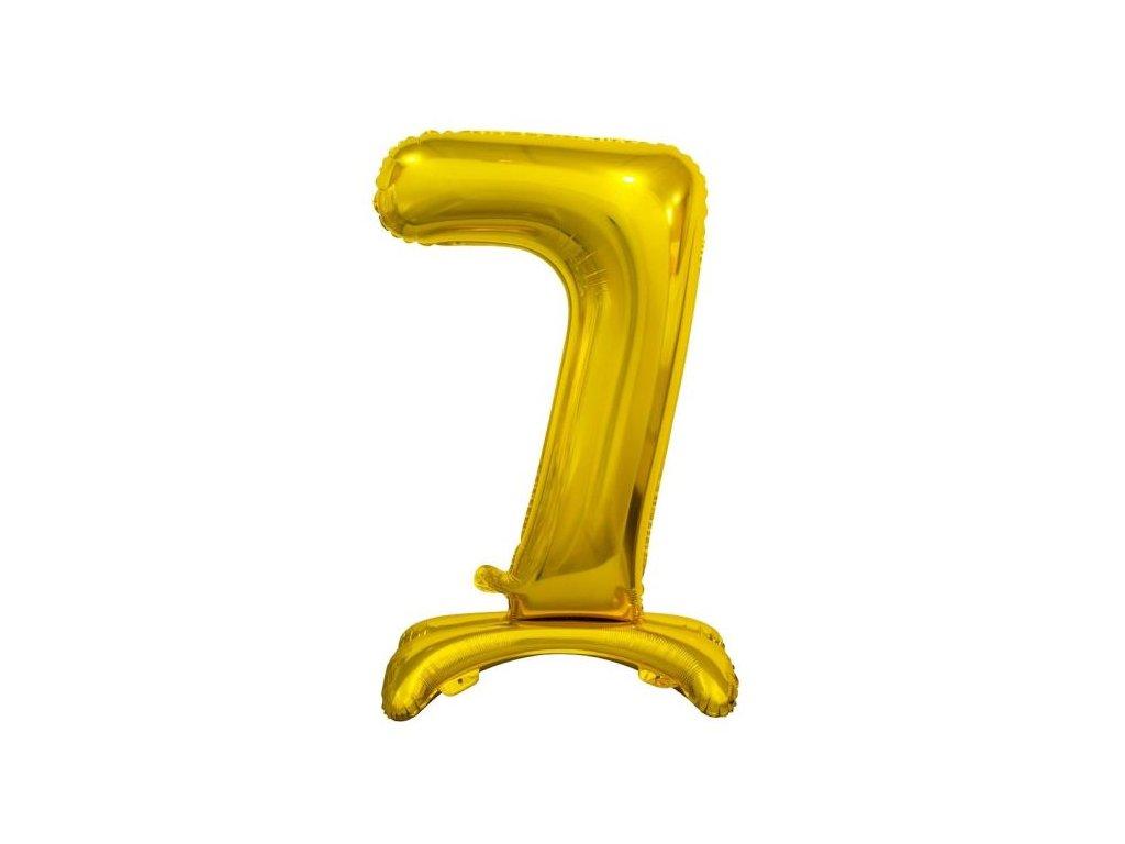 Balón foliový číslice ZLATÁ na podstavci , 74 cm - 7