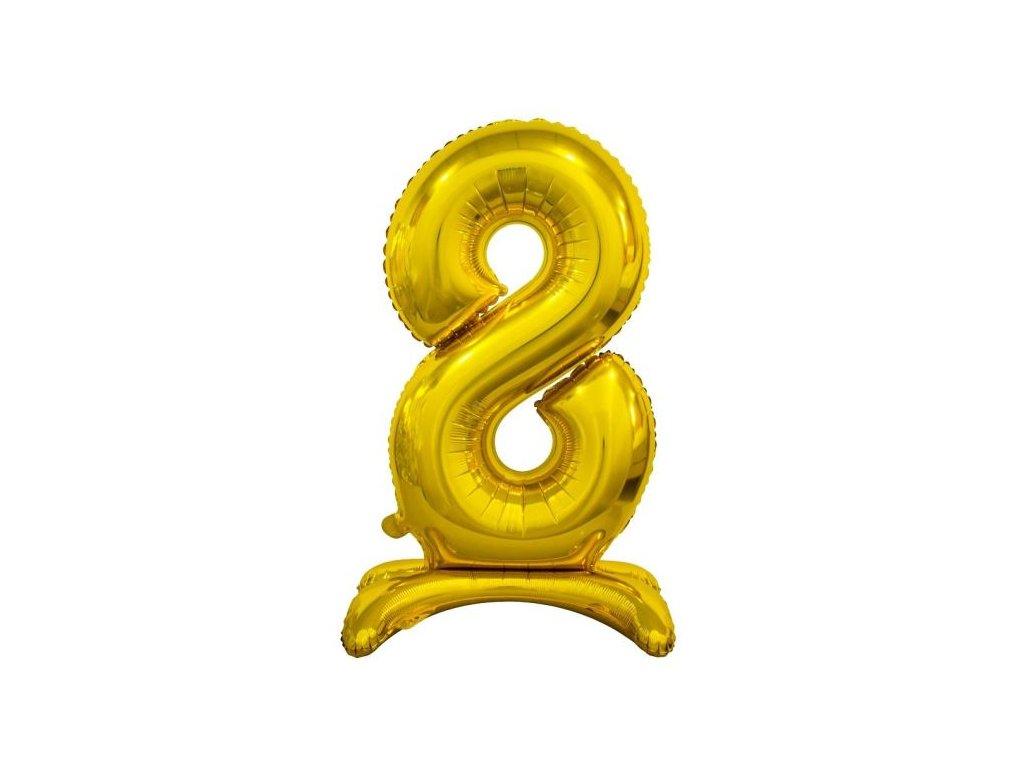 Balón foliový číslice ZLATÁ na podstavci , 74 cm - 8