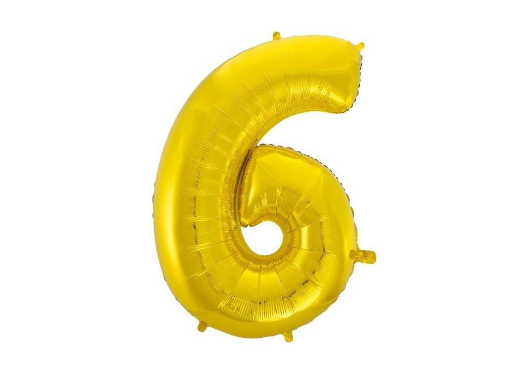 Balón foliový číslice ZLATÁ - GOLD 102 cm - 6