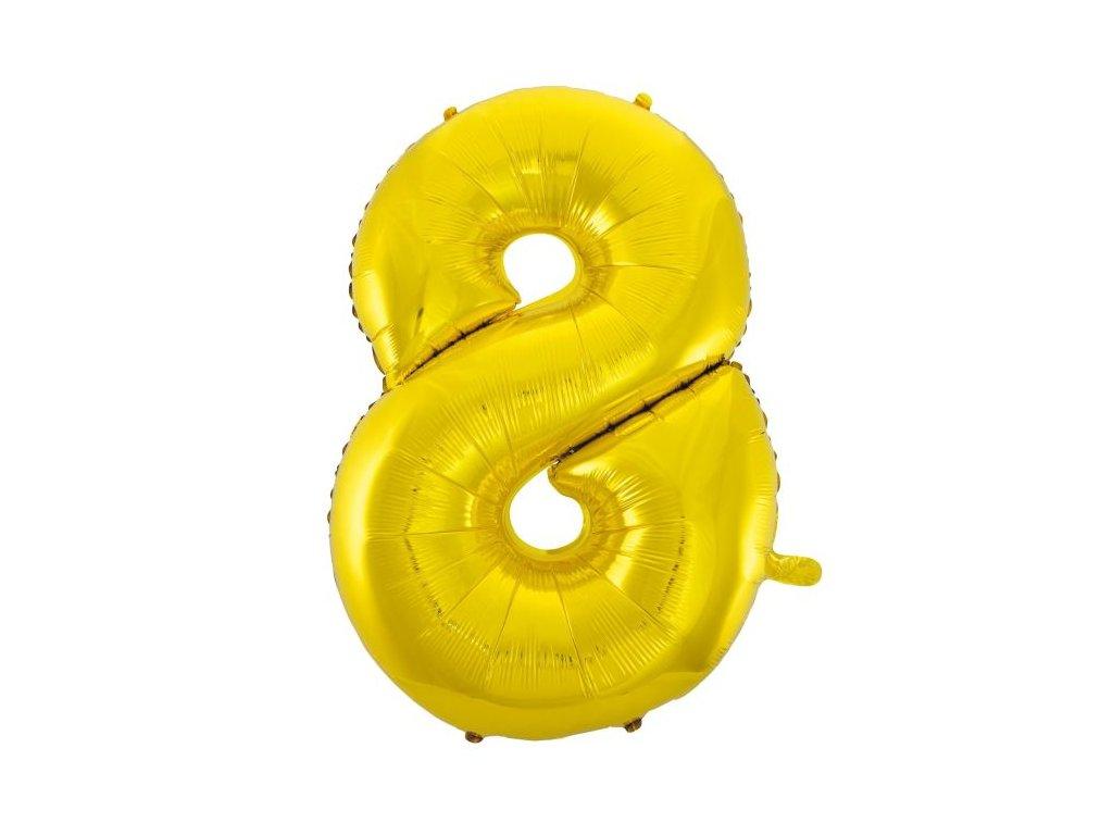 Balón foliový číslice ZLATÁ - GOLD 110 cm - 8