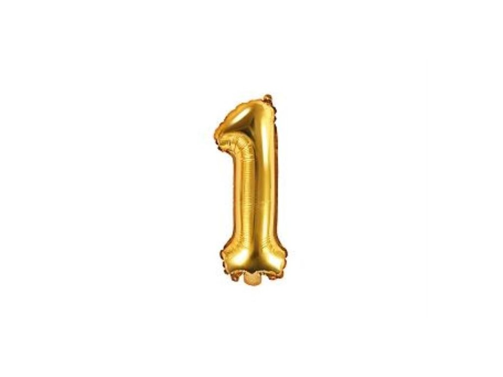 Balón foliový číslice ZLATÁ 35 cm -1 ( NELZE PLNIT HELIEM )