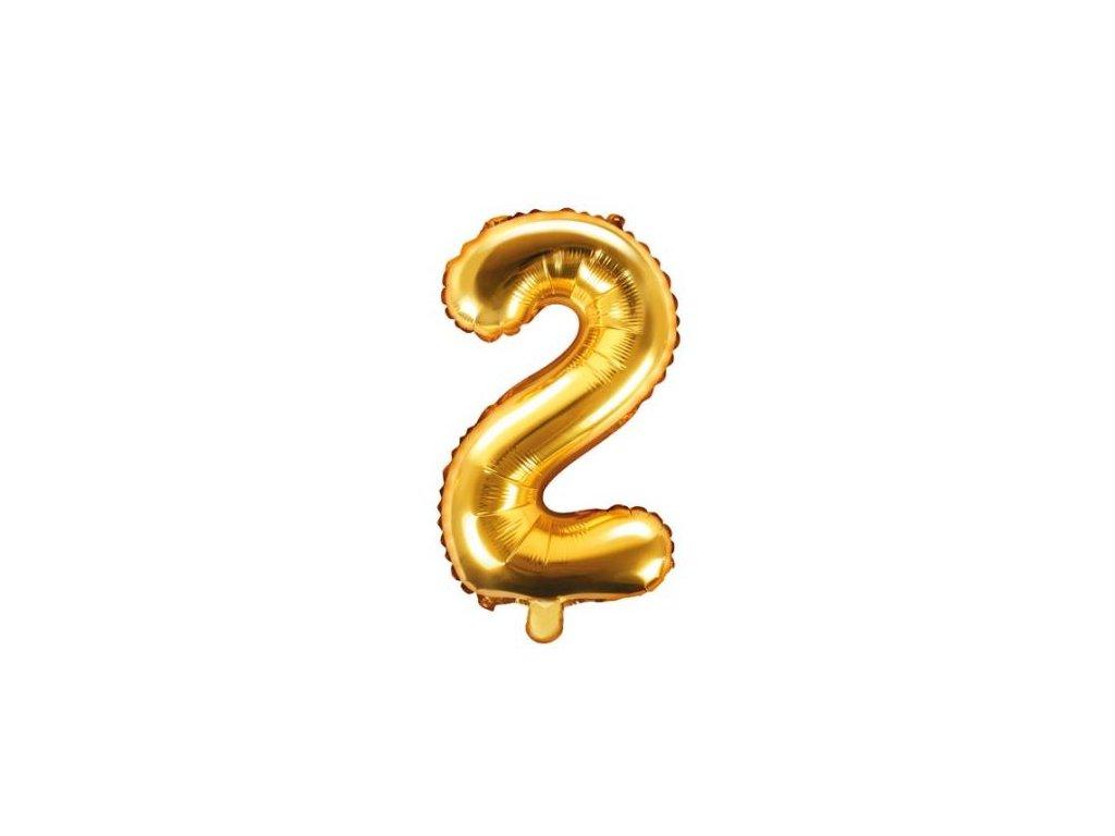 Balón foliový číslice ZLATÁ 35 cm -2 ( NELZE PLNIT HELIEM )