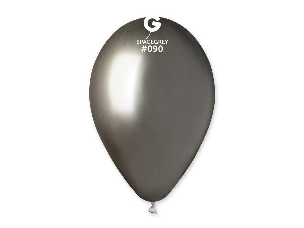 Balónek chromovaný 1 KS lesklý vesmírně šedý - průměr 33 cm