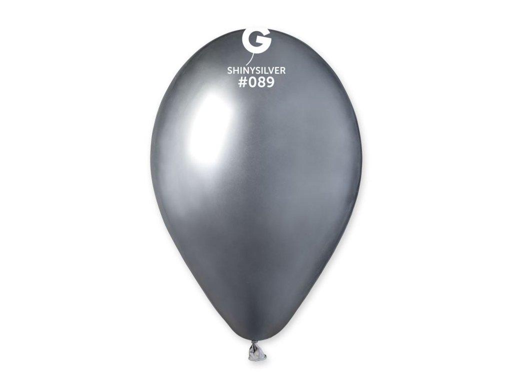 Balónek chromovaný 1 KS stříbrný lesklý - průměr 33 cm
