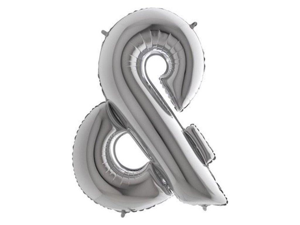 Balónek fóliový & Znak STŘÍBRNÝ - SILVER 102cm